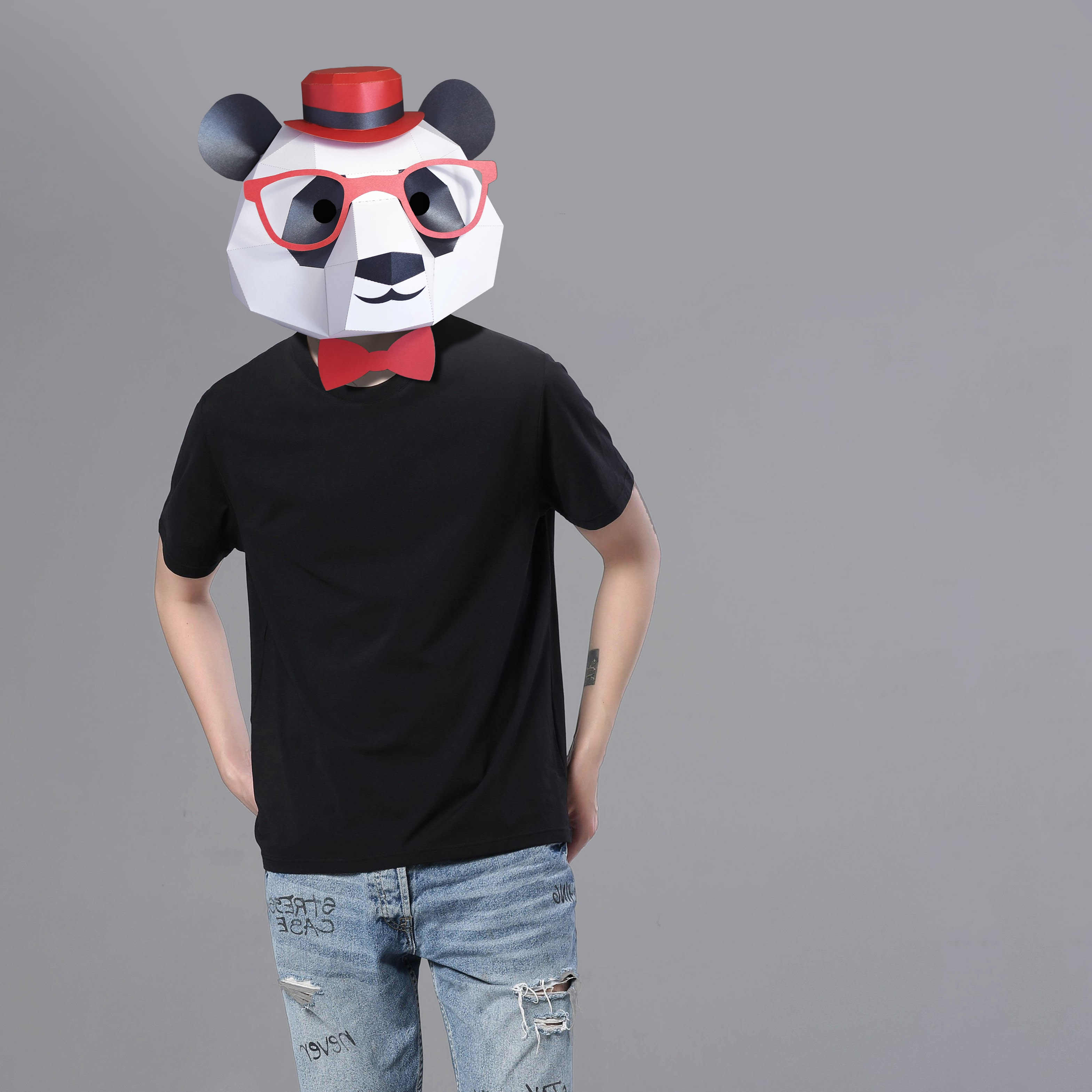 3D Paper Mask Fashion Panda Mask Animal Costume Cosplay DIY Paper Craft Model Mask Christmas Halloween Prom Party Gift