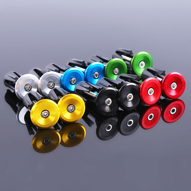 6 Colors 1 Pair Bicycle Handle Bar Cap End Plugs Bike Bicycle Aluminum Handlebar Grips Handle Bar Cap End Plugs Bicycle Parts