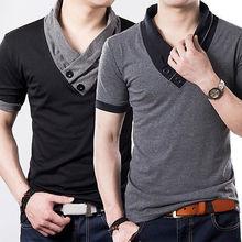 Стильные тощий вскользь slim роскошные fit коротким рубашка рубашки рукавом мужская
