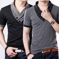 Luxuoso À Moda Casual Magro Shirt dos homens Slim Fit Camisas de Manga Curta Camisa Dos Homens
