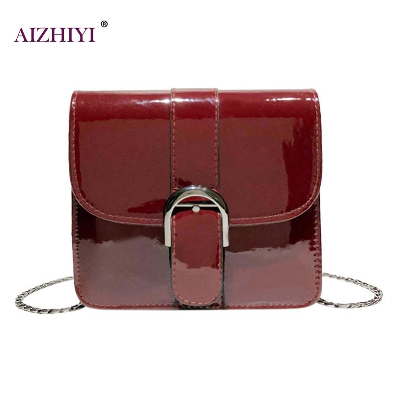 Bright Solid Patent Leather Women Crossbody Bags Chain Messenger Shoulder Handbag Casual Female Fashion Casual Small Flap Bag