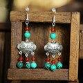 Original de la turquesa de plata tibetana de bloqueo tallado carácter chino orar longevidad y paz con ágata roja pendientes joyería étnica
