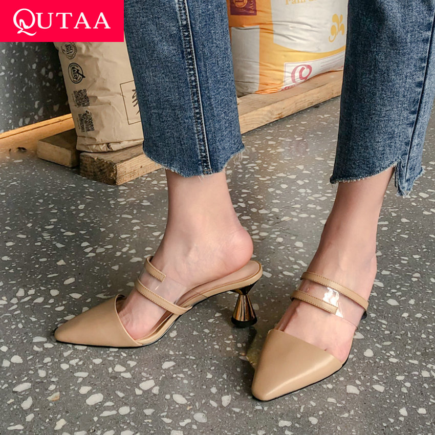 QUTAA 2019 Women Sandals Cow Leather Transparent Film Square High Heel Slingback Sexy Square Toe Leisure