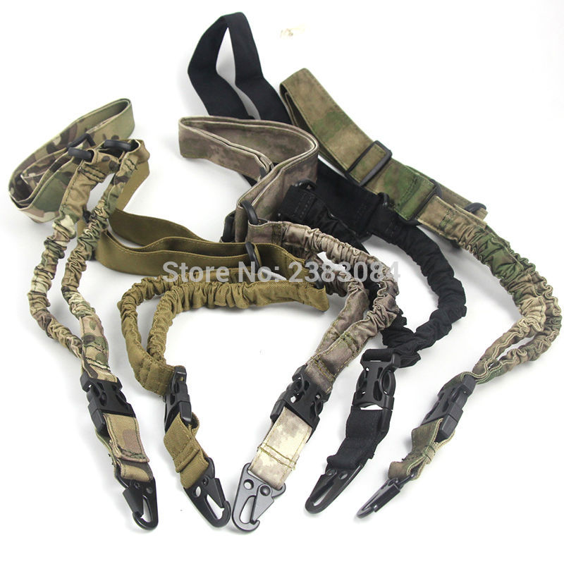 Tactical Airsoft Single One 1 Point Gun Sling Heavy Duty Paintball Military Bungee Cord Gun Strap System Rifle Gun Accessories
