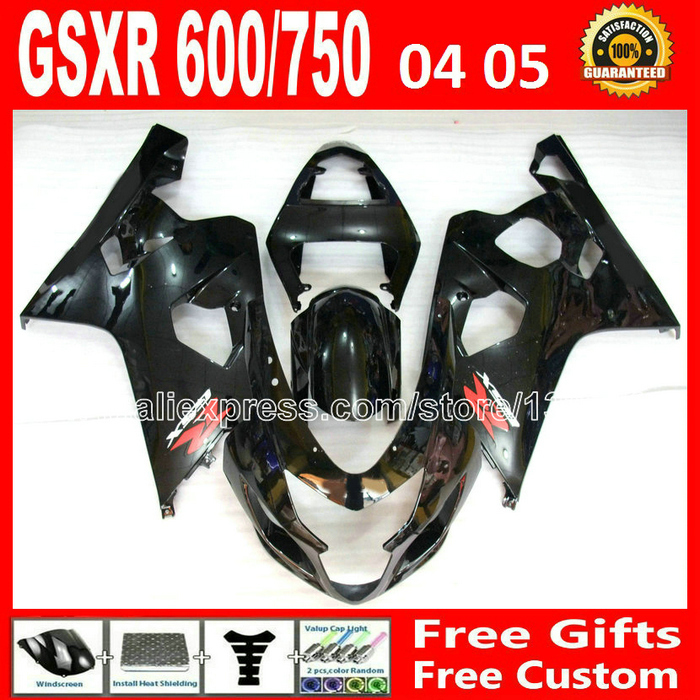 ABS plastic for 2004 2005 SUZUKI GSXR 600 750 glossy black fairing kit K4  04 05 gsxr600 DRV gsxr750 fairings kits motorcycle 78 lowest price fairing kit for suzuki gsxr 600 750 k4 2004 2005 blue black fairings set gsxr600 gsxr750 04 05 eg12