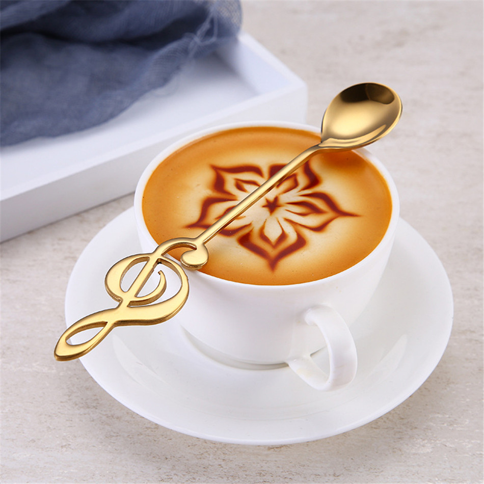 Stainless Steel Spoon Coffee Note Shape Music Theme Tea Stirring Spoon Small Ice Cream Dessert Scoop Creative Flatware in Flatware Sets from Home Garden