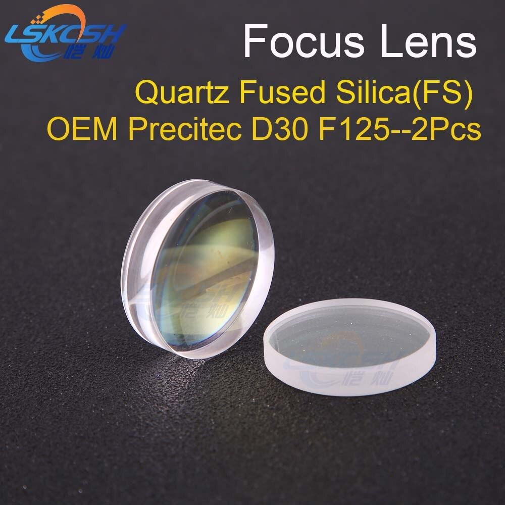 LSKCSH Spherical Focusing Lens D30 F125 2Pcs Precitec HPSSL OEM Quartz Fused Silica for fiber laser