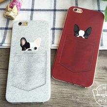 Cute French bulldog Pocket Cartoon Animals Soft Phone Case For iPhone 6Plus 6 6S 5 5S SE 5C 4 4S Samsung Galaxy