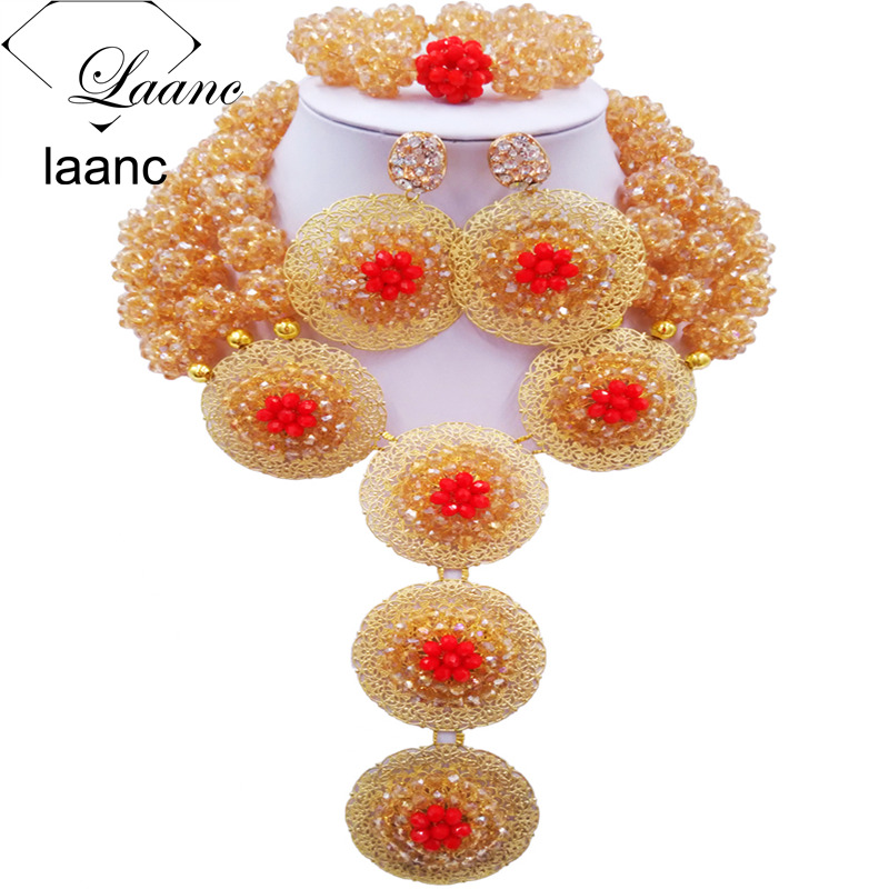 Laanc Red and Gold AB Crystal Ball Beaded African Jewelry Set Nigerian Wedding Party Necklace and Earrings Sets AL561Laanc Red and Gold AB Crystal Ball Beaded African Jewelry Set Nigerian Wedding Party Necklace and Earrings Sets AL561