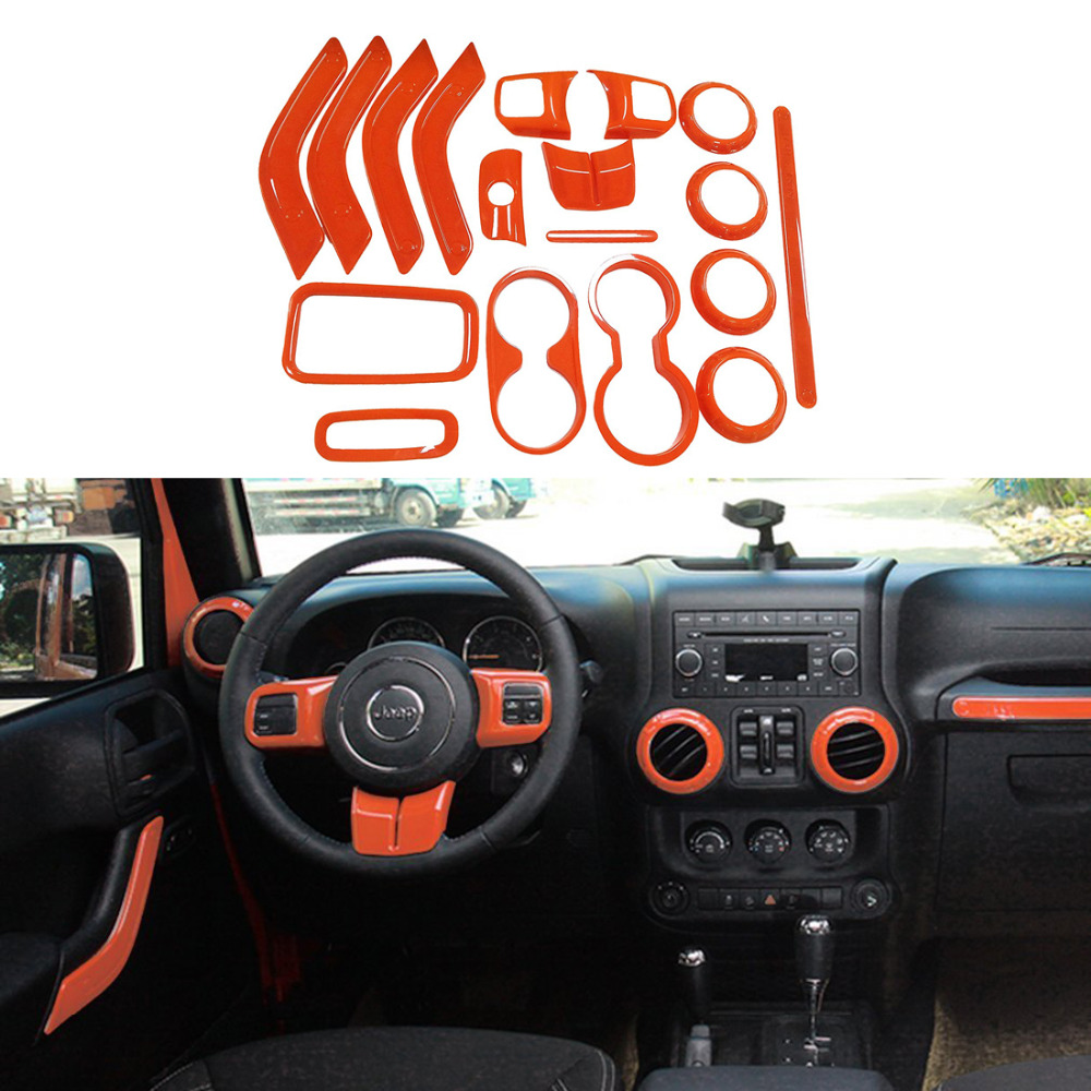18Pcs Full Set Interior Decoration Trim Kit Door Handle Air Conditioning Vent Copilot Handle Trim For