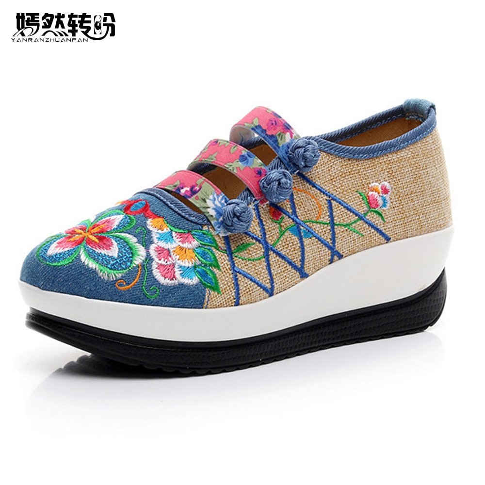 Women Flats Vintage Canvas Flower Embroidery Shoes Woman Casual Cotton Cloth Flat Platforms Shoes Sapato Feminino wegogo canvas women casual shoes embroidery national casual flat shoe embroidered travel shoes flats sapato feminino bordado