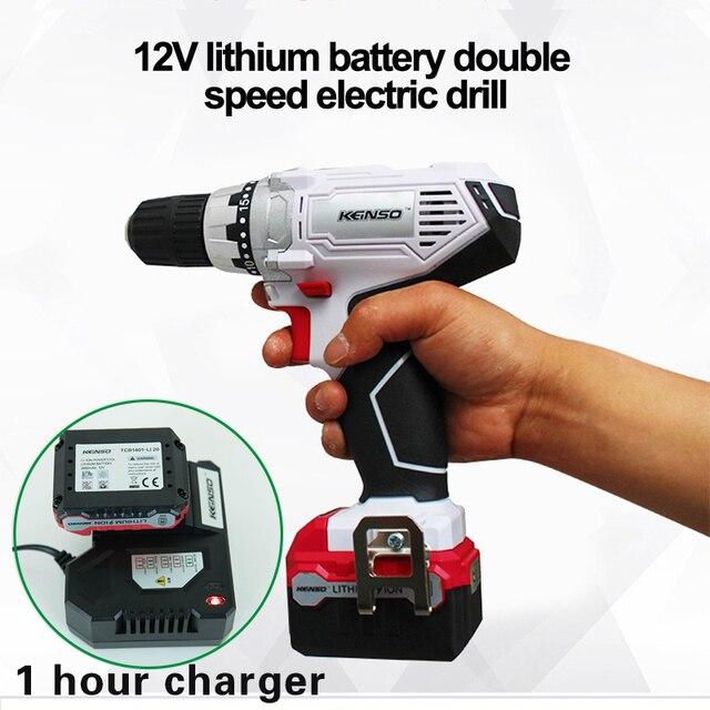 12 V электроинструменты электрическая Беспроводная отвертка мини-дрель электрическое бурение с литиевой батареей 2-скорость шпинделя замок