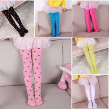 Fashion Heart Printed Baby Legging Children Girls Candy Color Pantyhose Velvet Stockings BM88