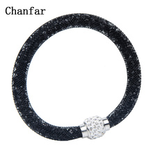 Chanfar Net Crystal Ball Magnetic Clasp Single Mesh Bracelet Jewelry Color Selection