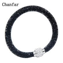 Chanfar Net Crystal Ball Magnetic Clasp Single Mesh Bracelet Jewelry