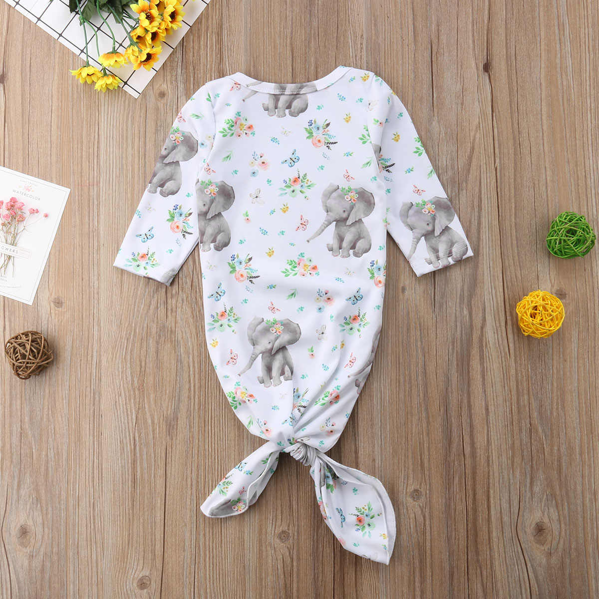 Saco de Dormir do bebê do Outono Bonito do Elefante de Impressão Cobertor Do Bebê Recém-nascido Saco de Dormir Swaddle Envoltório Moda New Born Outfit