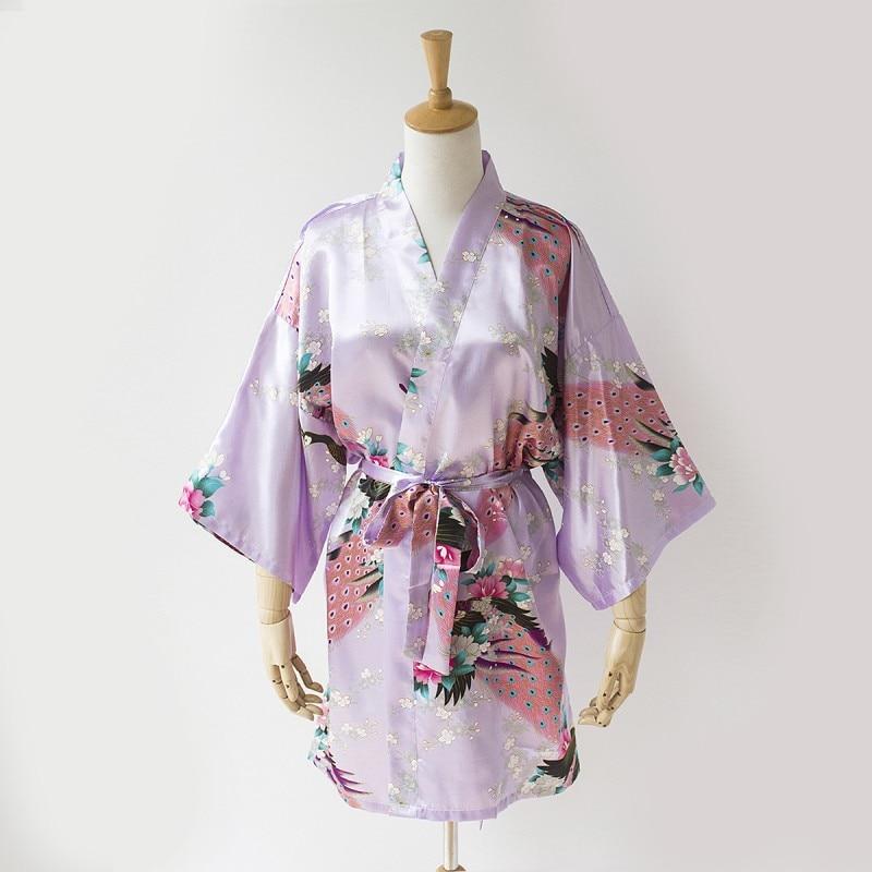 Light Purple Chinese Women Satin Bath Robe Gown Kimono Dress Nightgown Sexy Lingerie Pijamas Peacock S M L XL XXL XXXL NR185