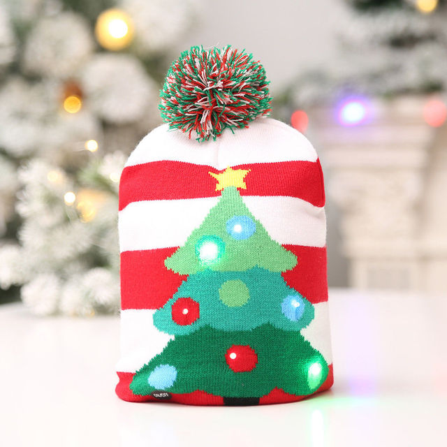 led christmas beanie ugly christmas sweater christmas tree beanie light up knitted hat for children adult