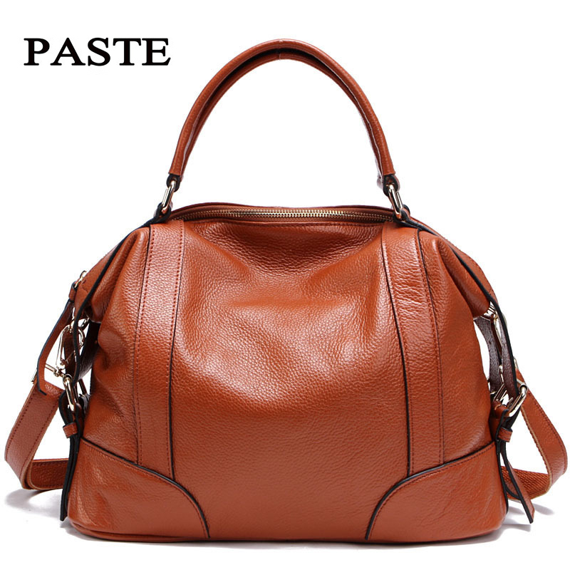 цены на Ladies' Genuine Leather Handbag Luxury Women's Handbags Shoulder Bags Casual Tote Cow Leather Clutch Female Bag bolsa feminina в интернет-магазинах