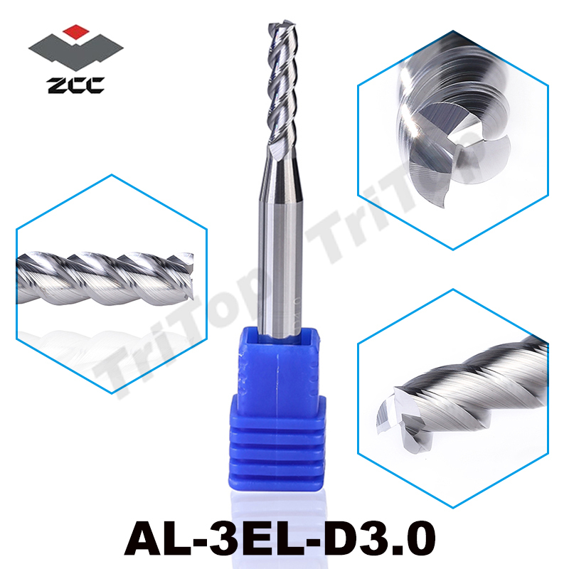 2pcs/lot ZCC AL-3EL-D3.0 3 flute end mill 3mm extended edition long cutting edge for aluminium machining cnc milling tools al 2el d20 0 zcc ct cemented carbide 2 flute flattened end mills long cutting edge cnc end mill