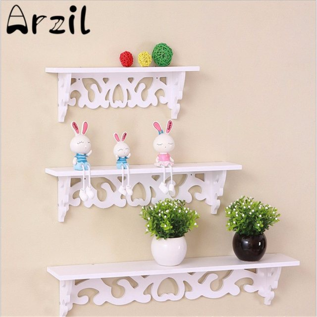 Wooden White Wall Hanging Shelf Rack Household Photo Souvenir Display Stand Sundries Storage Holder Home Decorative Crafts