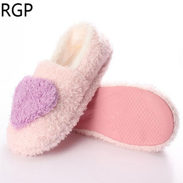 2016 Winter Pantuflas Pantufa Love Heart Pattern Cotton Plush Slippers Soft Warm Floor Indoor Shoes Women