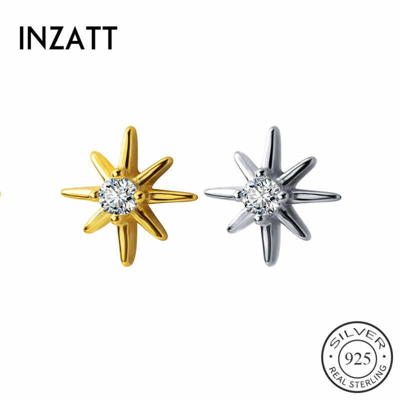 Inzatt Nyata 925 Sterling Silver Zirkon Star Stud Anting-Anting untuk Wanita Minimalis Fine Perhiasan Punk 2019 Aksesoris Hadiah
