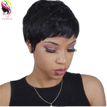 Feibin 27PCS Short Wigs for Black Women Synthetic Blonde Brown Full Head Nature Wave Hair 4inches