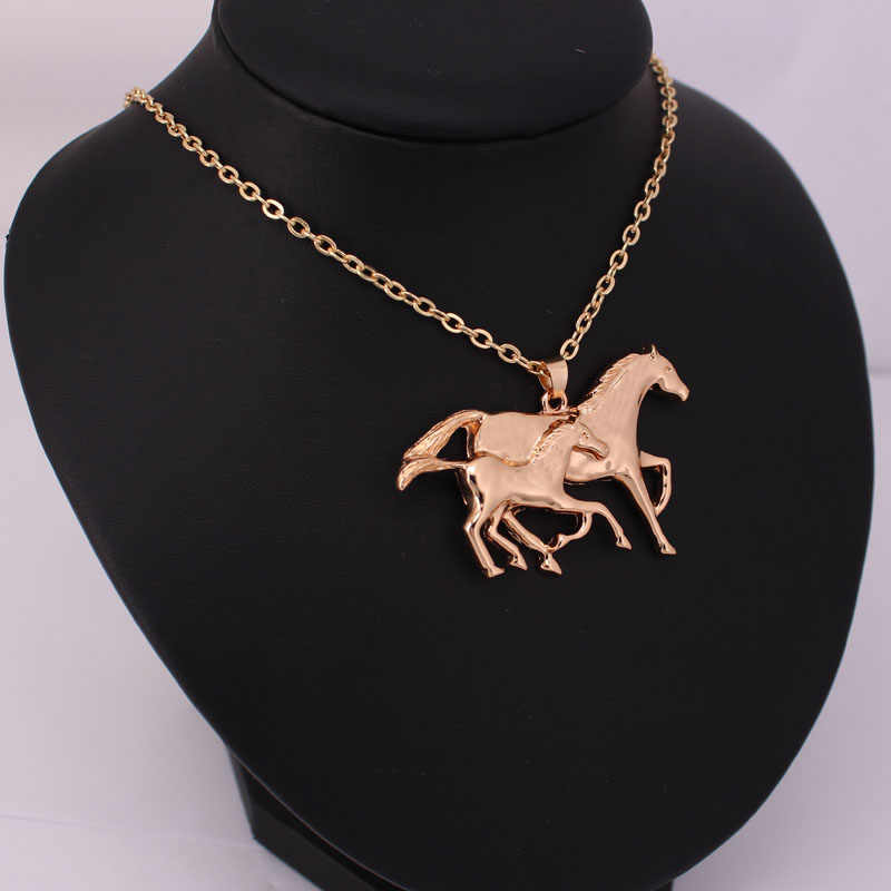 hzew cute running two horse penadant necklace Mother and her child horse necklaces