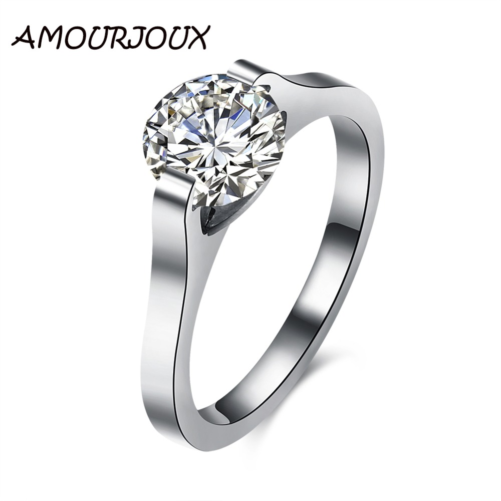 Amourjoux Romantic Shiny Zircon Stainless Steel Rings For. Swirly Engagement Rings. Vitaly Rings. Amethyst Accent Engagement Rings. Kay Jewelers Wedding Rings. 18k Diamond Engagement Rings. Golden Leaf Engagement Rings. Wave Shaped Wedding Rings. Love Heart Rings