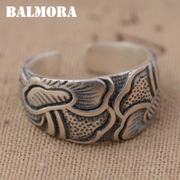 BALMORA Solid 990 Pure Silver Lotus Flower Rings For Women Men Lovers Gift Vintage Thai Silver
