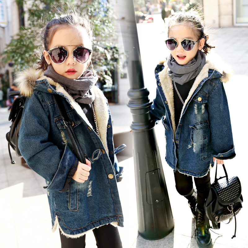 Hooded varm tjock tjej denim jacka 2018 vinter höstjacka Full Sleeve Kids Outwear & Coats Tjocka Velvet Girls Outfits
