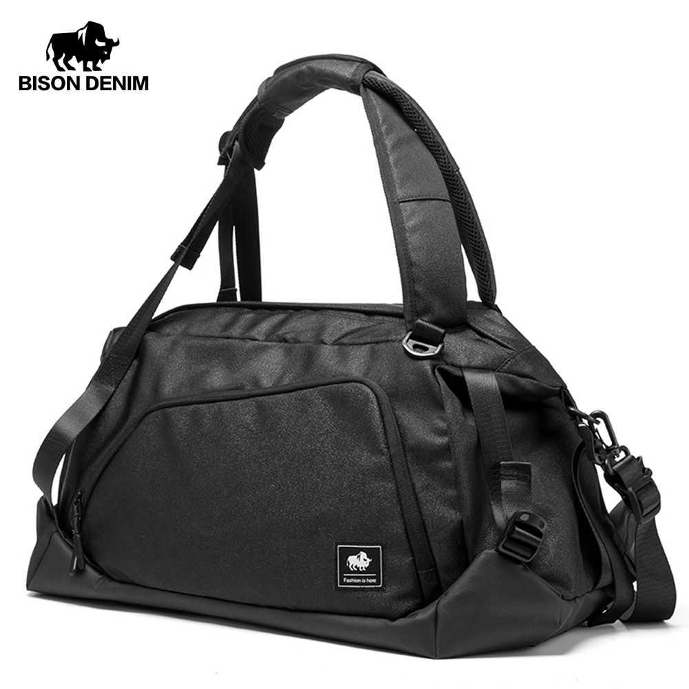 BISON DENIM กระเป๋าเดินทางขนาดใหญ่ผู้ชายกระเป๋าเดินทาง Duffle กระเป๋าไนลอนวันหยุดสุดสัปดาห์กระเป๋าเดินทาง Multifunctional N5091