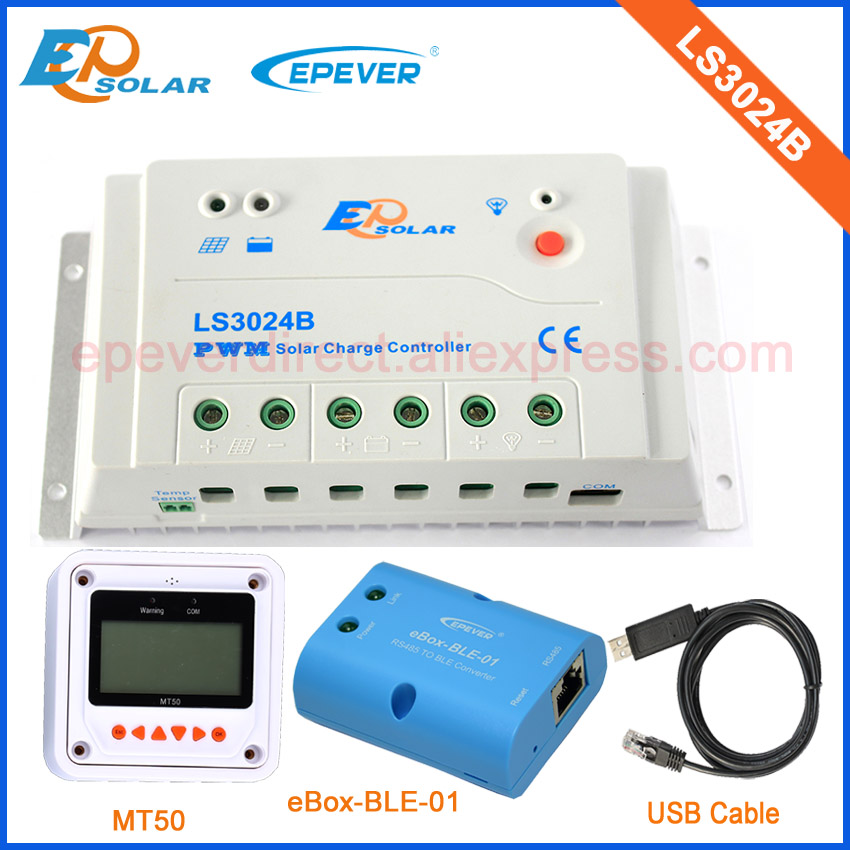 LS3024B PWM solar battery charger controller with BLE BOX USB communication cable and MT50 remote meter 12V/24V 30A solar charger 24v 12v auto work ls3024b 30a with wifi function box mt50 remote meter and usb cable free shipping