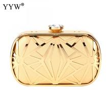 YYW Gold Women Evening Bags Exquisite Leather Handbag Metal Hollow Designer Wedding Party Clutch Purse Bag