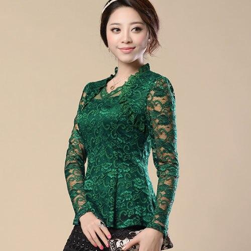 New Fashion 2016 renda blusas femininas Women Lace shirt Hollow lace blouse shirt female Plus size