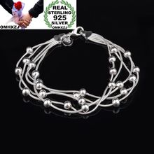 OMHXZJ Wholesale Personality Fashion OL Woman Party Gift Silver Round Beads Five Lines Chain 925 Sterling Silver Bracelet BR23 цена