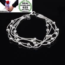 OMHXZJ Wholesale Personality Fashion OL Woman Party Gift Silver Round Beads Five Lines Chain 925 Sterling Silver Bracelet BR23(China)