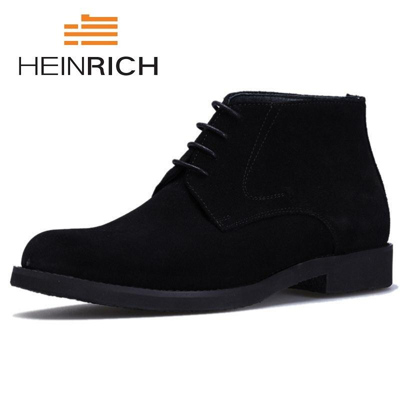 HEINRICH Winter Genuine Leather Men Boots Vintage Style Autumn Men Shoes Leisure Lace Up Male Boots Chaussure Homme Hiver
