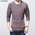 YDLMENG sweater men o neck button knitted camisa pull homme gradient mixed color ribbed cuff hem thicken coarse wool warm 611