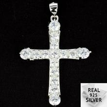 4.3g Guaranteed Real 925 Solid Sterling Silver Deluxe Cross White Sapphire Womans Pendant 29x14mm