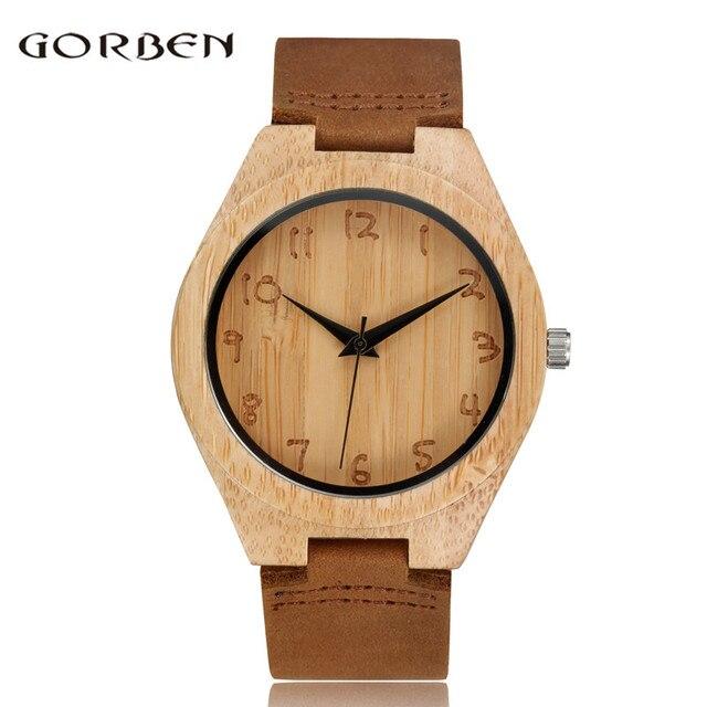 20a5342e0755e Gorben ماركة بسيط الخيزران طبيعة الخشب النحت المعصم التناظرية الكوارتز الساعات  النسائية السيدات الساخنة الإسورة جلدية