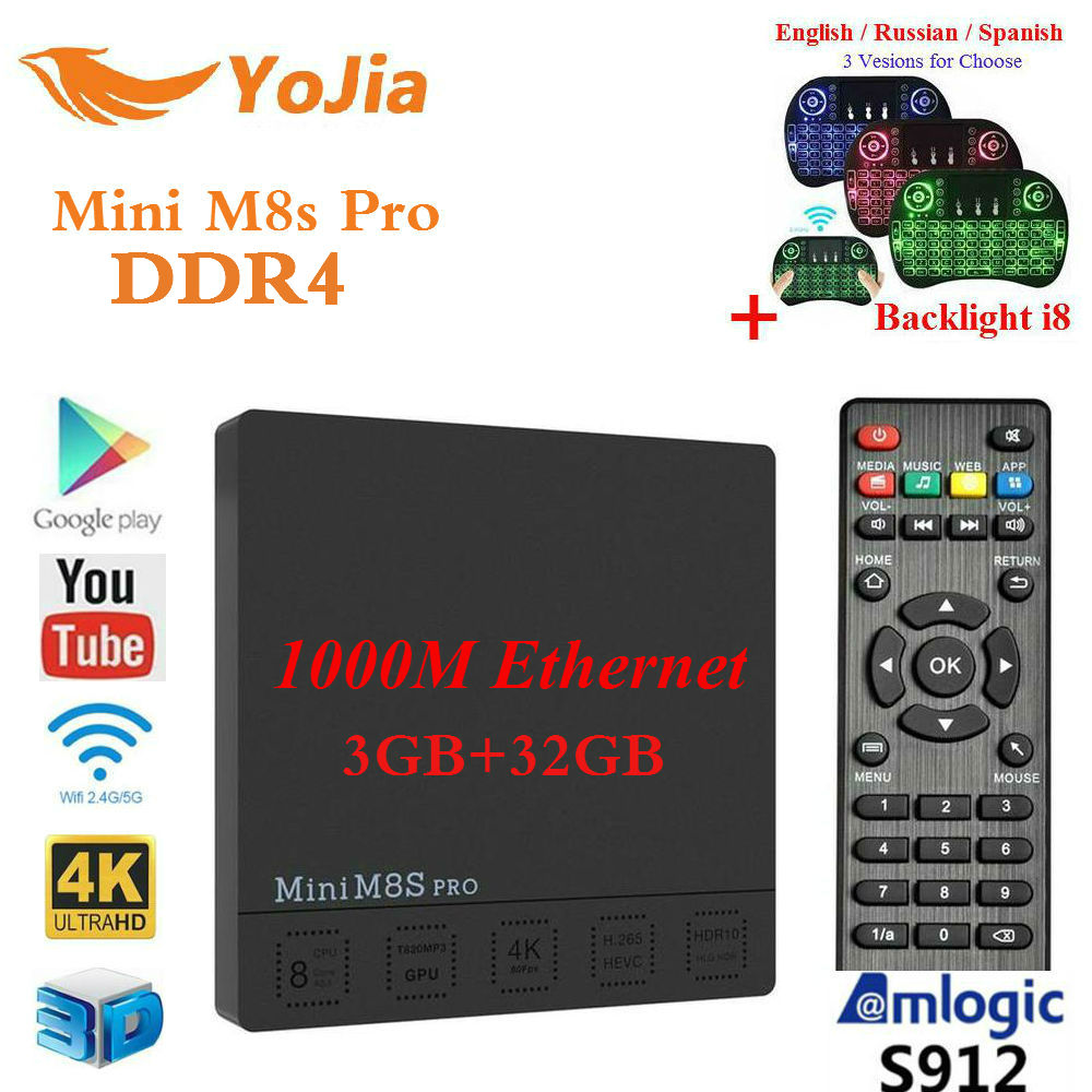 Original DDR4 3G32GB Mini M8S PRO Amlogic S912 Android 7.1 TV Box set top box Octa Core DDR3 2G16GB m8s pro smart media player