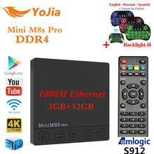 Yojia оригинальный DDR4 3G32GB мини M8S Pro Amlogic S912 Android 7.1 ТВ коробка Восьмиядерный DDR3 2G16GB PK X92 X96 мини H96 Pro T95z плюс