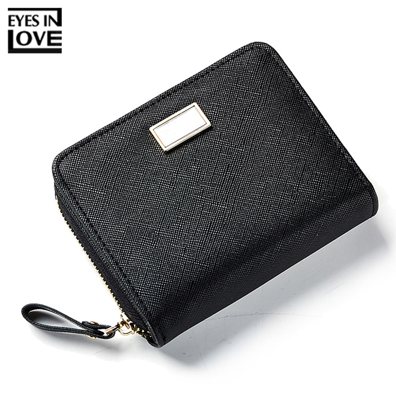 купить EYES IN LOVE Brand Classic Style Small Female Synthetic Leather Solid Wallet Women's Card Wallets Ladies Coin Purses Slim Purse по цене 590.9 рублей