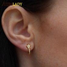 Prosty mały Stud Micro Pave Cz gwiazda kolczyk Top dobrej jakości hurtownia elegancja urocza dziewczyna boże narodzenie na prezent kobiety biżuteria