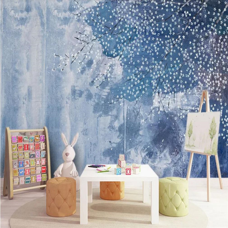 Custom wallpaper Nordic abstract oil painting flower wall small fresh pastoral wind decoration wallpaper waterproof material in Wallpapers from Home Improvement