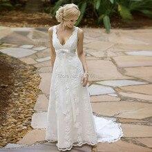 Elegant Garden Wedding Dress Court Train Lace Bride Dresses with Ribbon Sash Sexy V Neck vestido casamento Custom Made