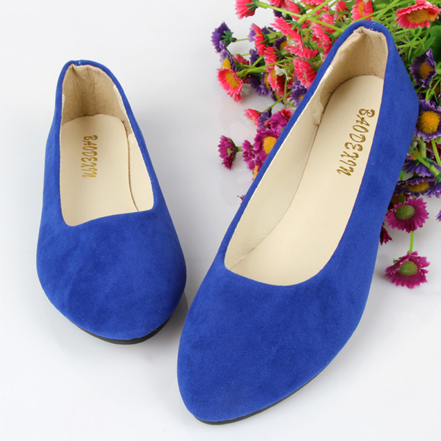2016 New Candy-Colored Pointed Toe Soft Shoes Flock Flat Comfortable Big Size Women Shoes CXD-C3