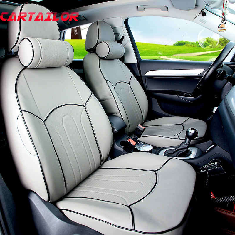 CARTAILOR PU Leather Car Seat Cover Custom Fit For Subaru Legacy 2010 2008 2015 Covers Accessories Set Black Seats Supports